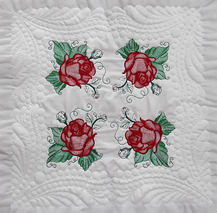Ripple Roses, Feathers and Pearls Quilt Blocks Large