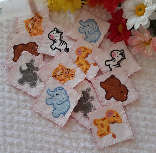 zoo quiet time memory game embroidery design