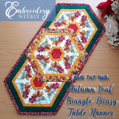 EWC159 - Autumn Leaf Triangle Frenzy Table Runner